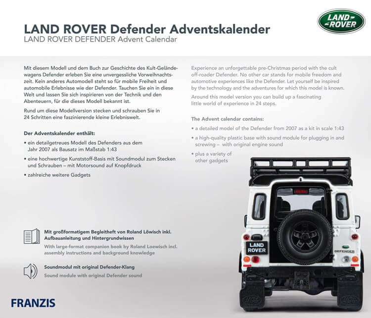 Land Rover Defender adventskalender achterkant