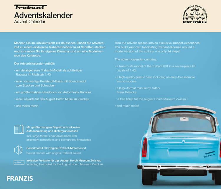 Trabant adventskalender modelbouw achterkant