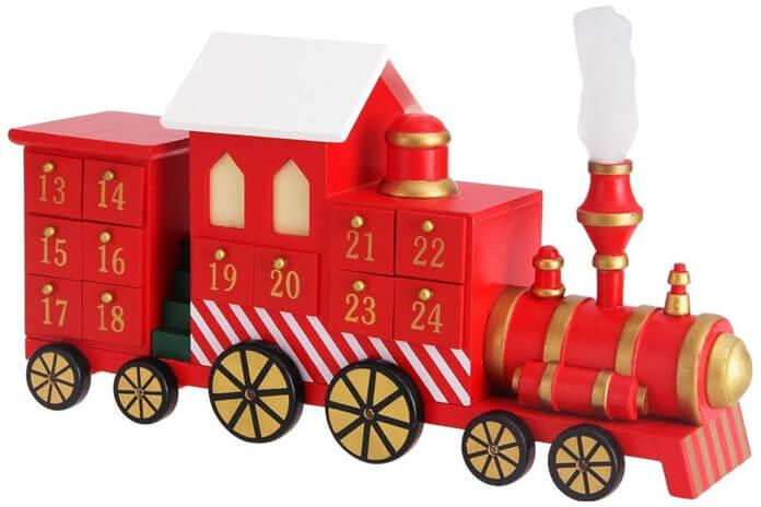 Rode locomotief adventskalender